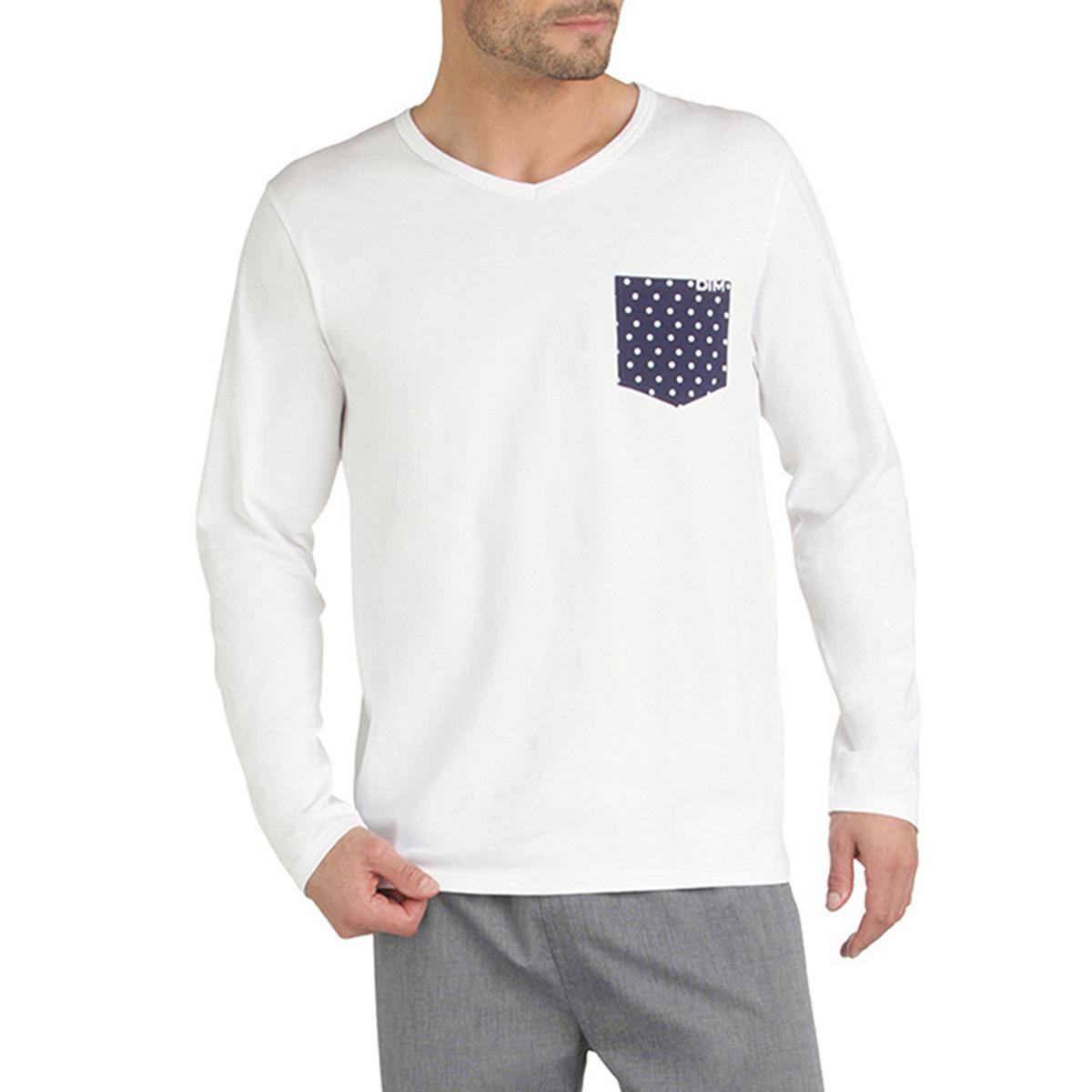 T-shirt de pyjama manches longues blanc poche à pois Homme