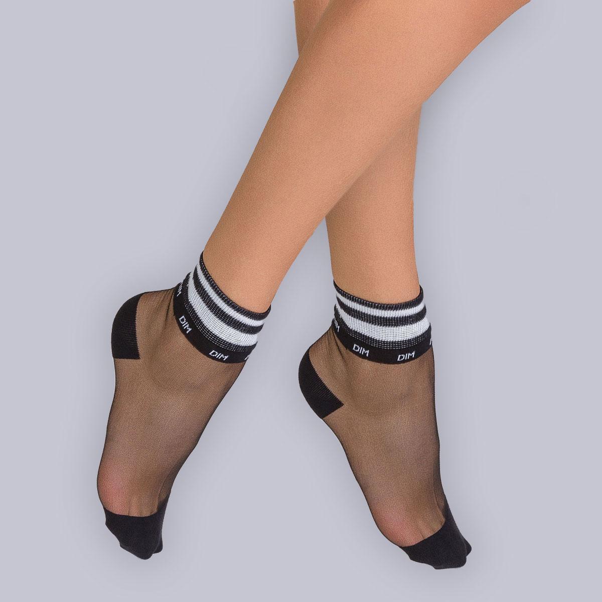 Lot de 2 socquettes Sport Chic noir Femme Style