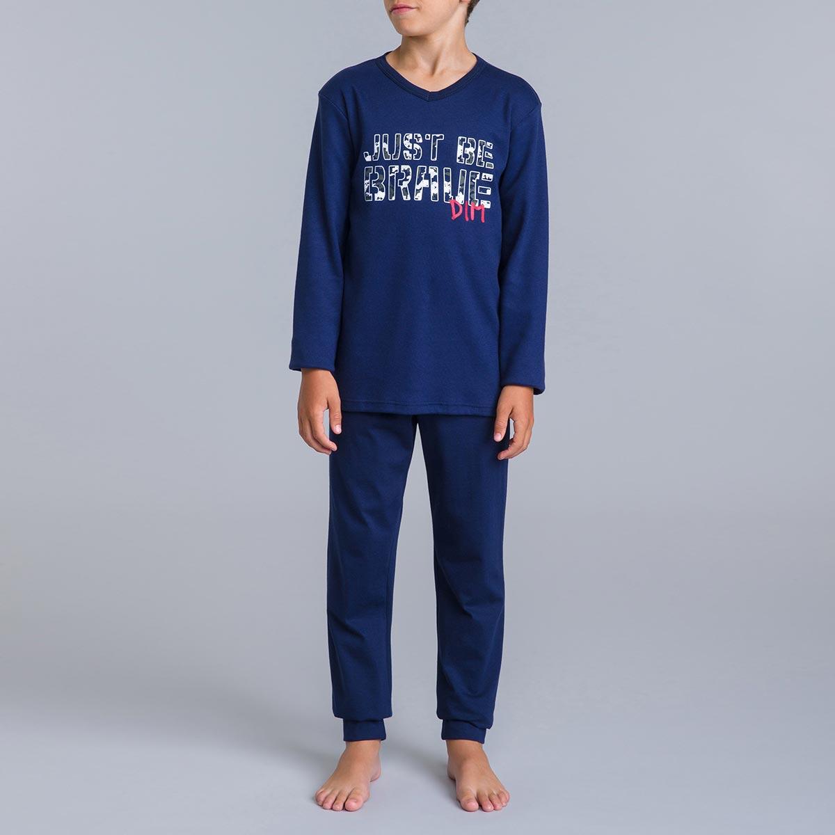 Pyjama 2 pièces bleu matelot DIM Camouflage