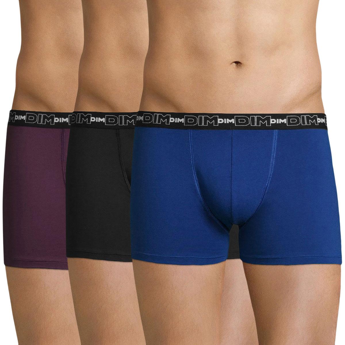 Lot de 3 boxers violet, bleu et noir Coton Stretch