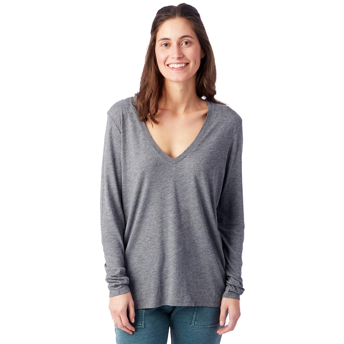 T-shirt fluide gris cendré à manches longues Femme