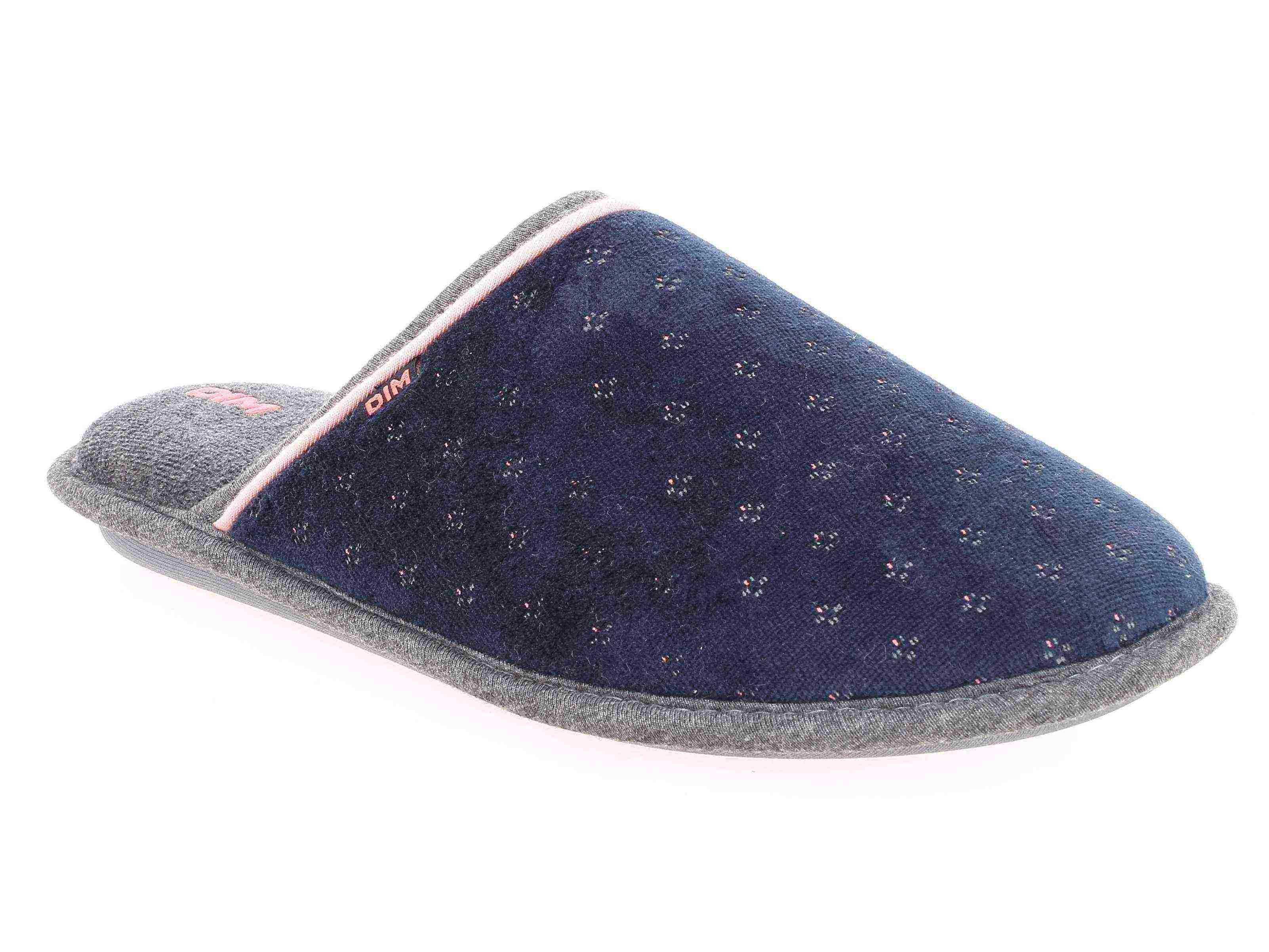 Chaussons pantoufles en velours bleu marine Femme