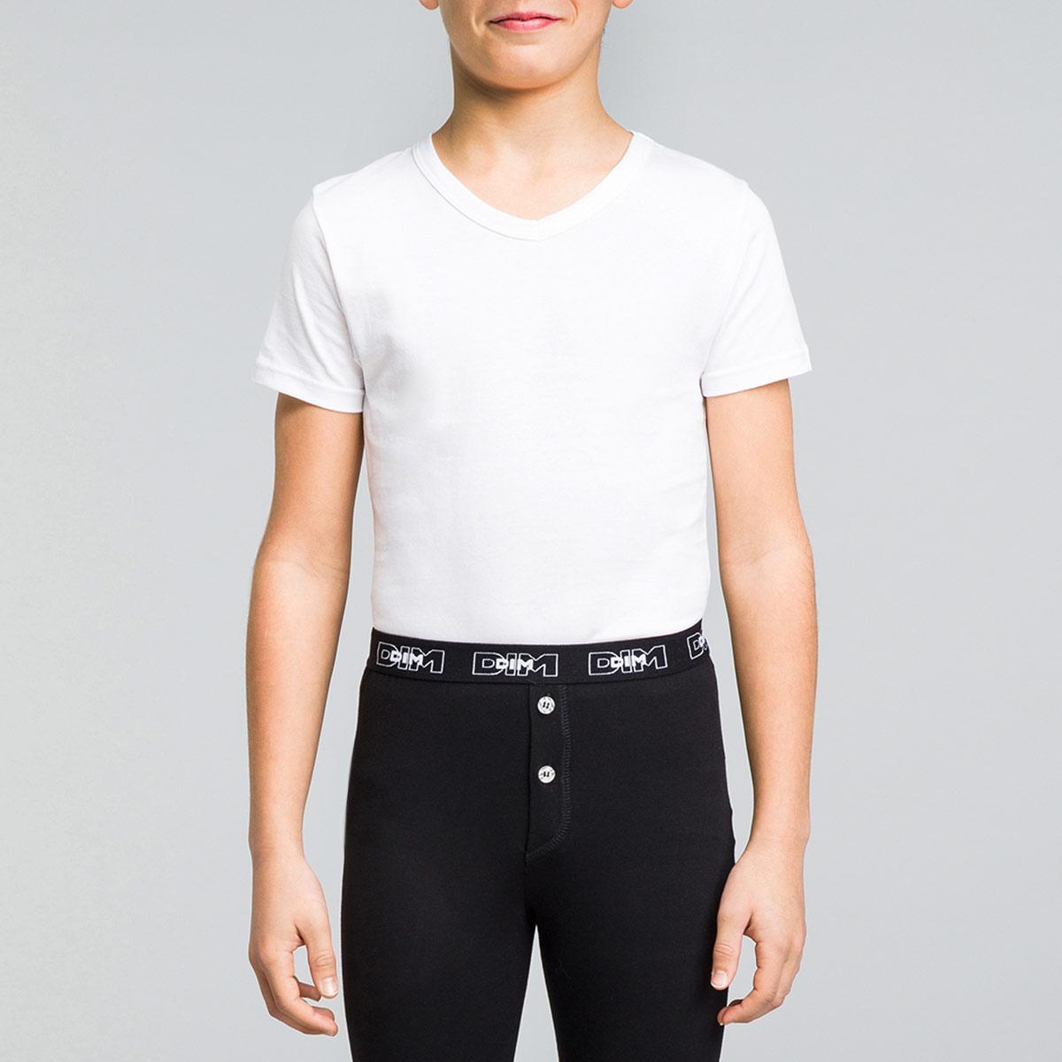 Tee-shirt manches courtes blanc col V DYNAMIC Boy
