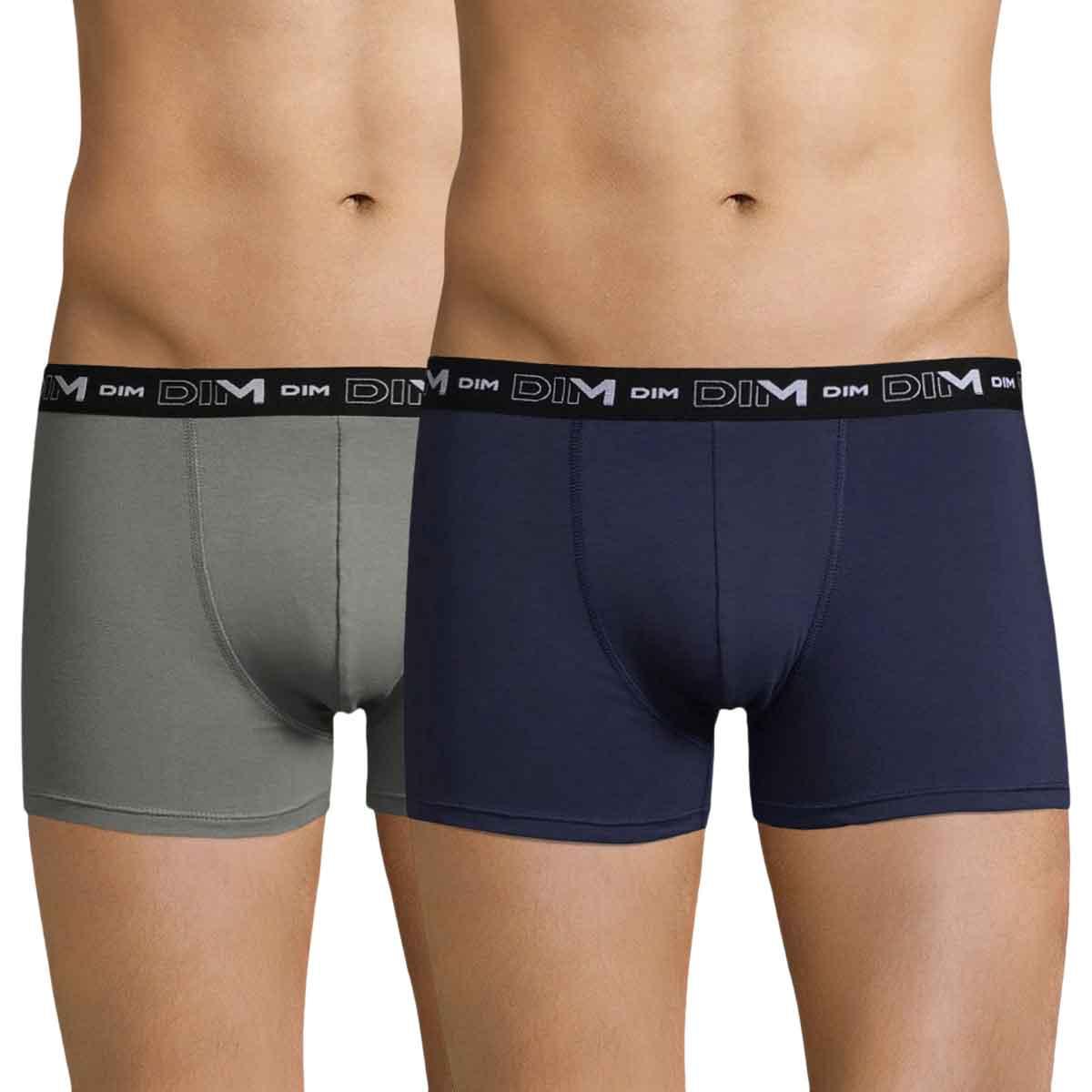 Lot de 2 boxers gris ardoise et bleu nuit DIM Coton Stretch