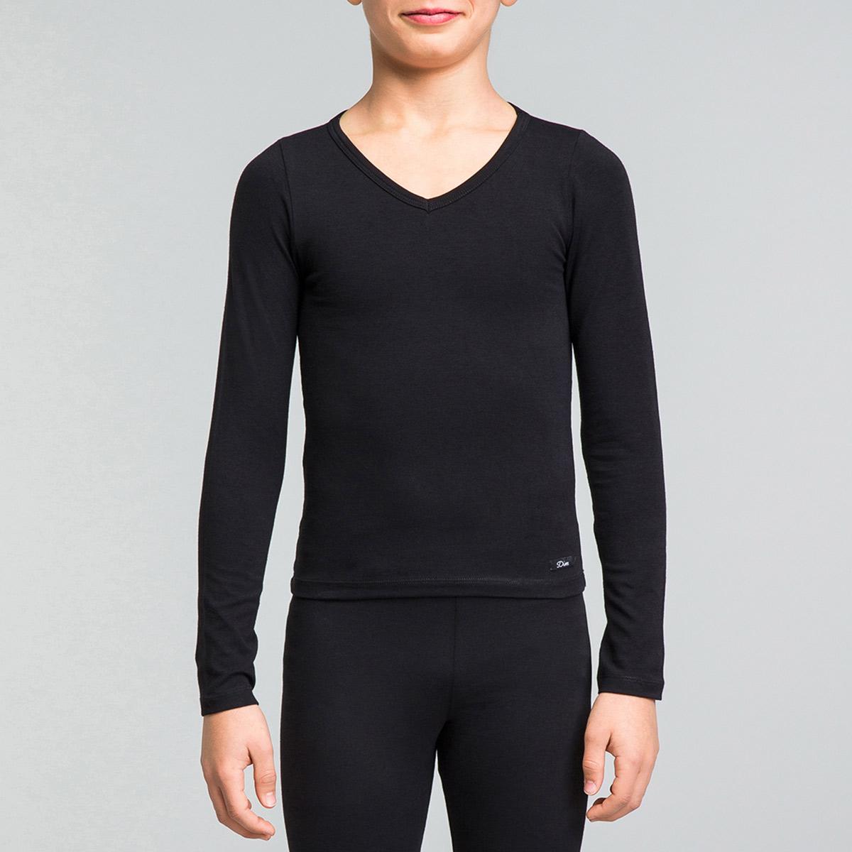 T-shirt noir manches longues en coton