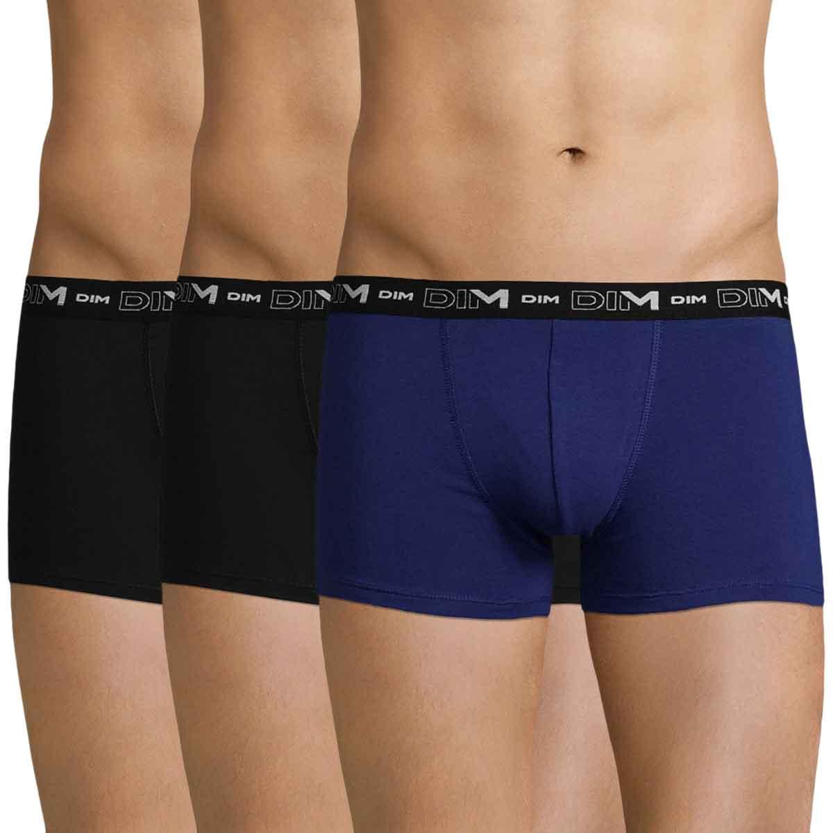 Lot de 3 boxers noirs et bleu indigo DIM Coton Stretch