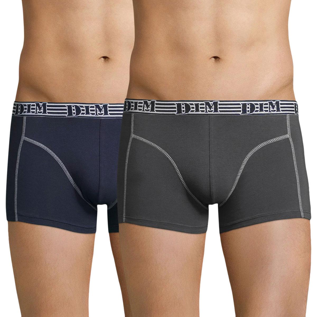 Lot de 2 boxers en coton stretch bleu et gris EcoDIM Mode