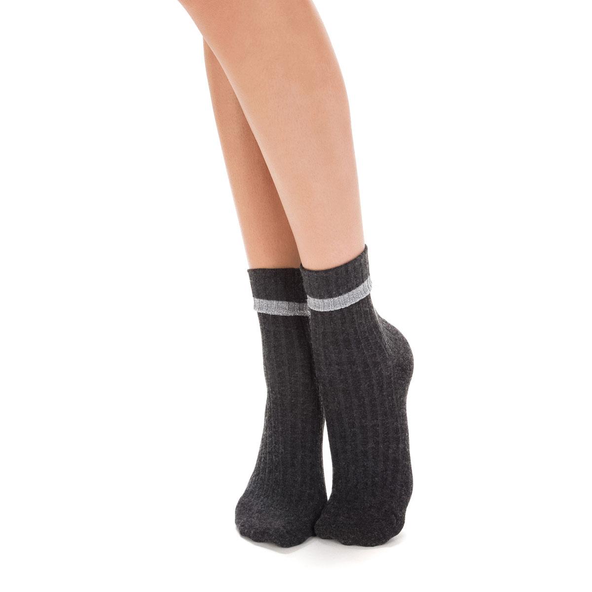 Socquettes anthracite en laine à revers brillant Femme