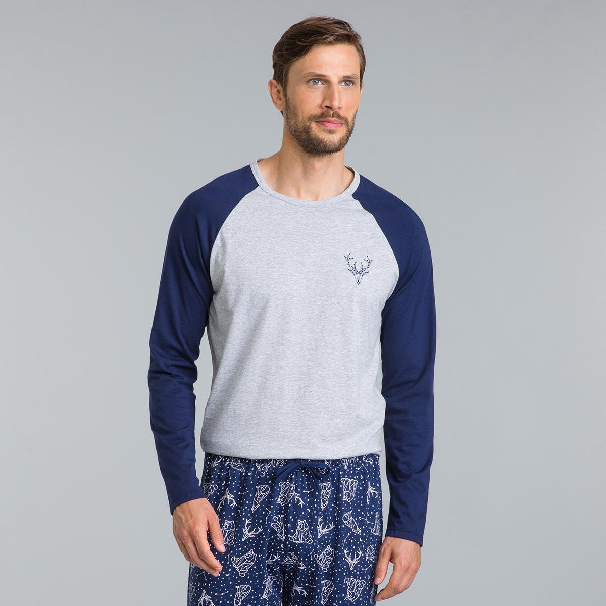 Tee-shirt de pyjama manches longues gris chiné Street Art