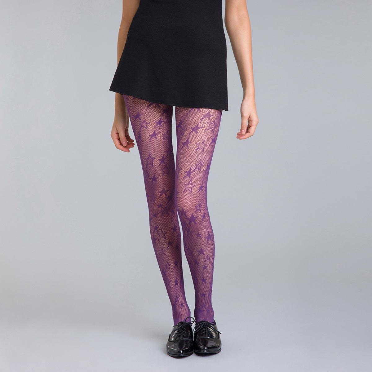 Collant résille étoile violet nocturne 73D Style
