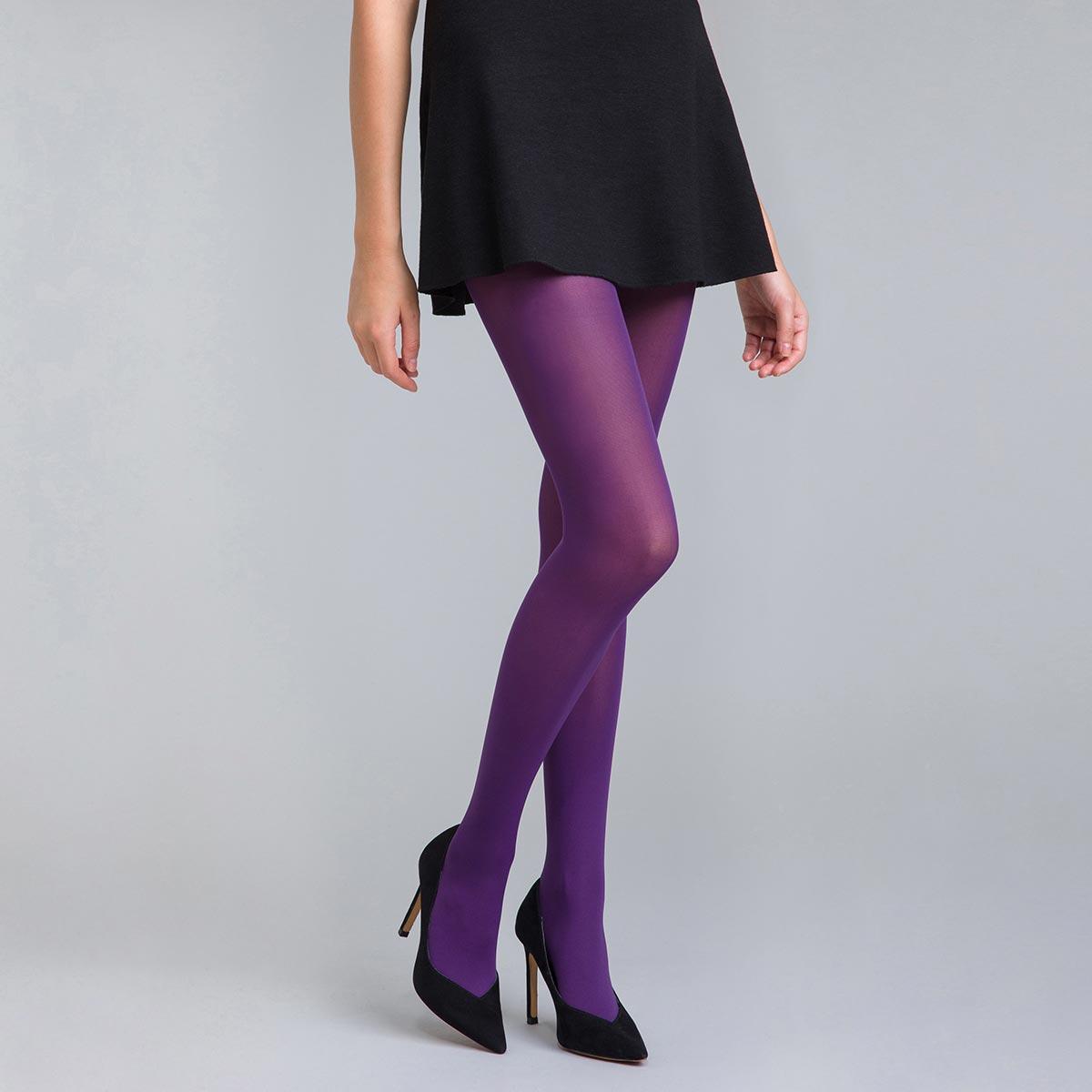 Collant opaque velouté violet nocturne 50D Style