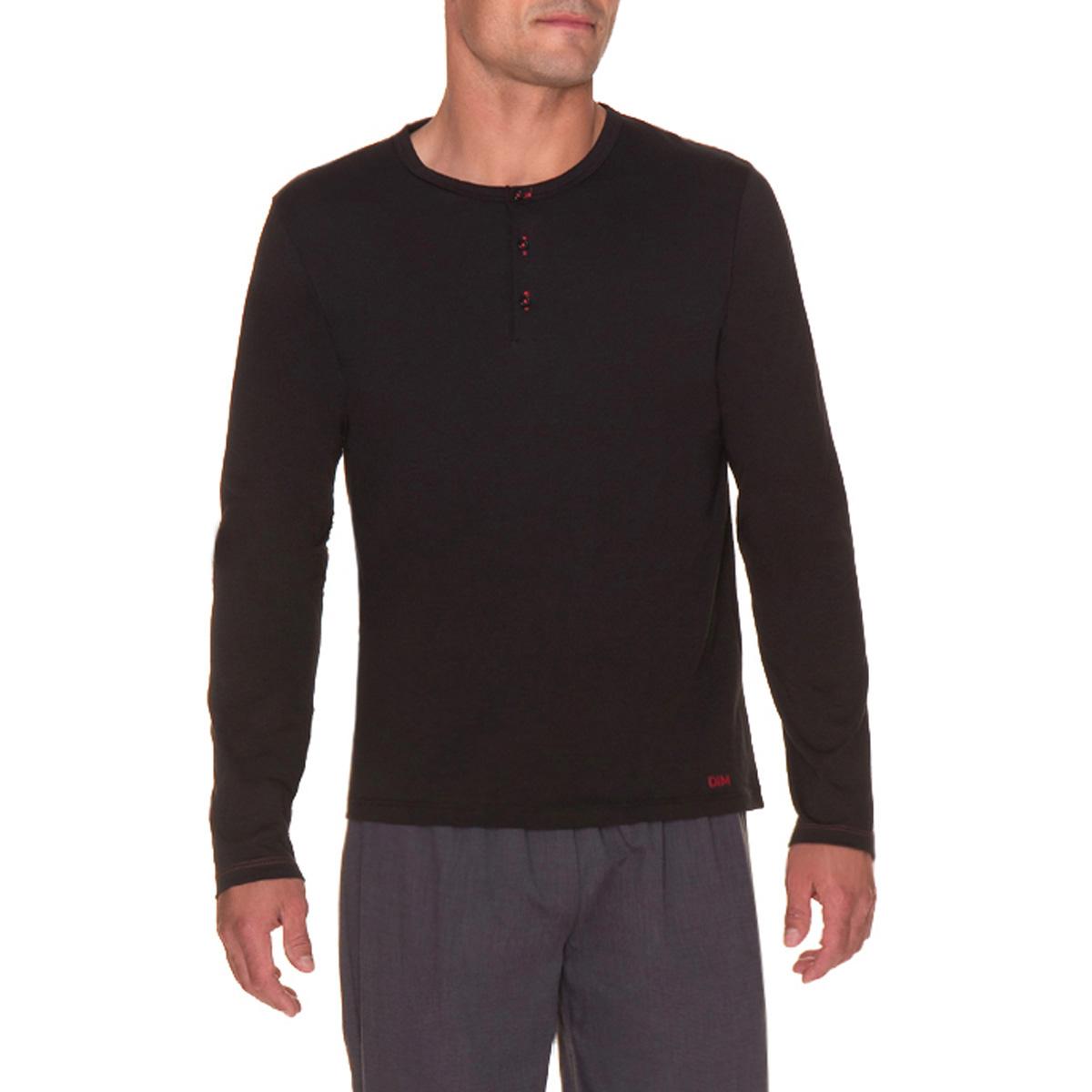 T-shirt de pyjama manches longues noir à boutonnière Homme