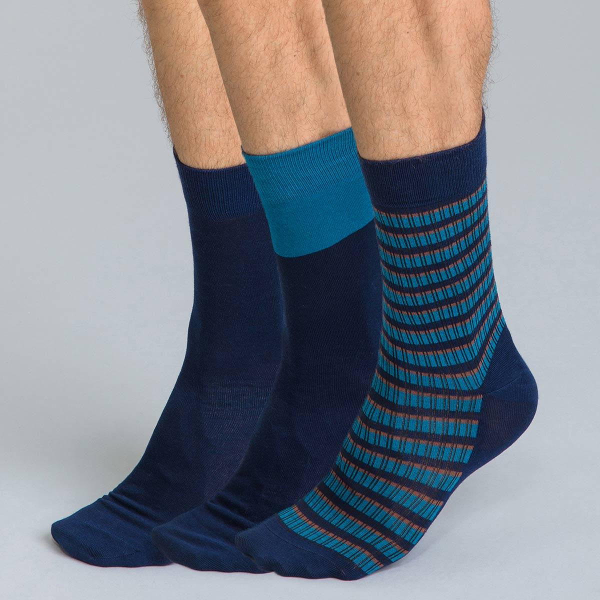 Chaussettes bleu marine imprimées rayures en coton Homme