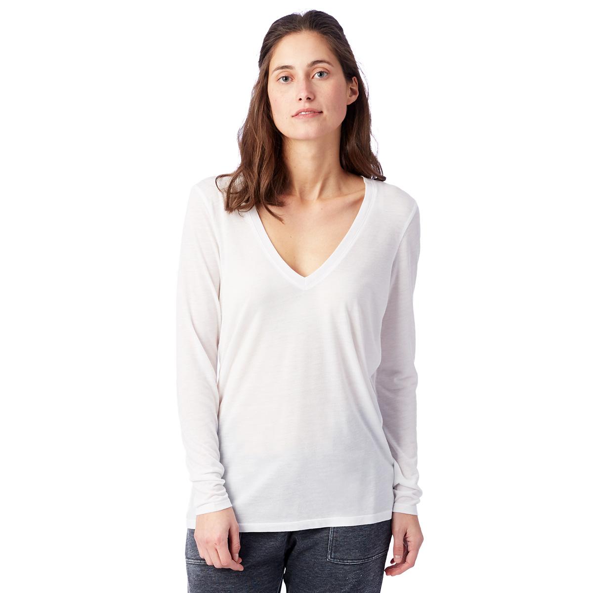 T-shirt fluide blanc à manches longues Femme