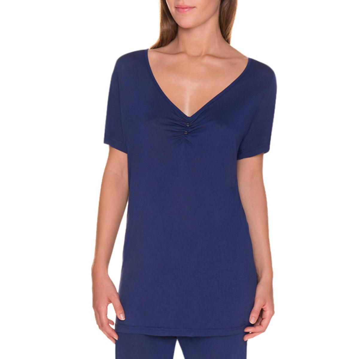 T-shirt de pyjama manches courtes bleu encre Femme