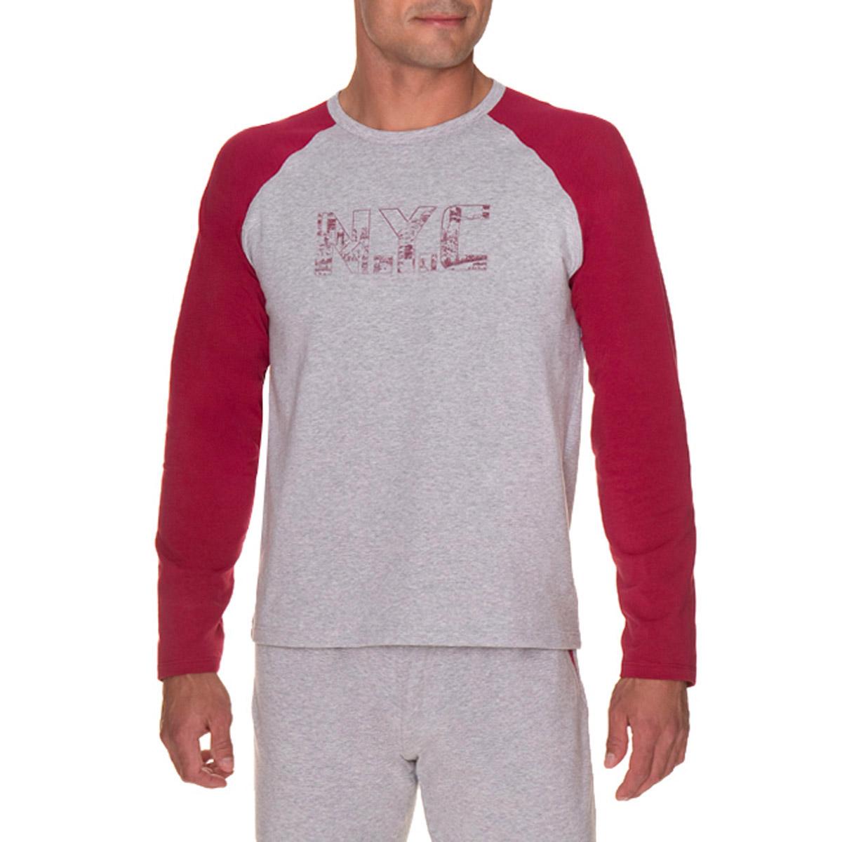 T-shirt de pyjama manches longues gris chiné Homme