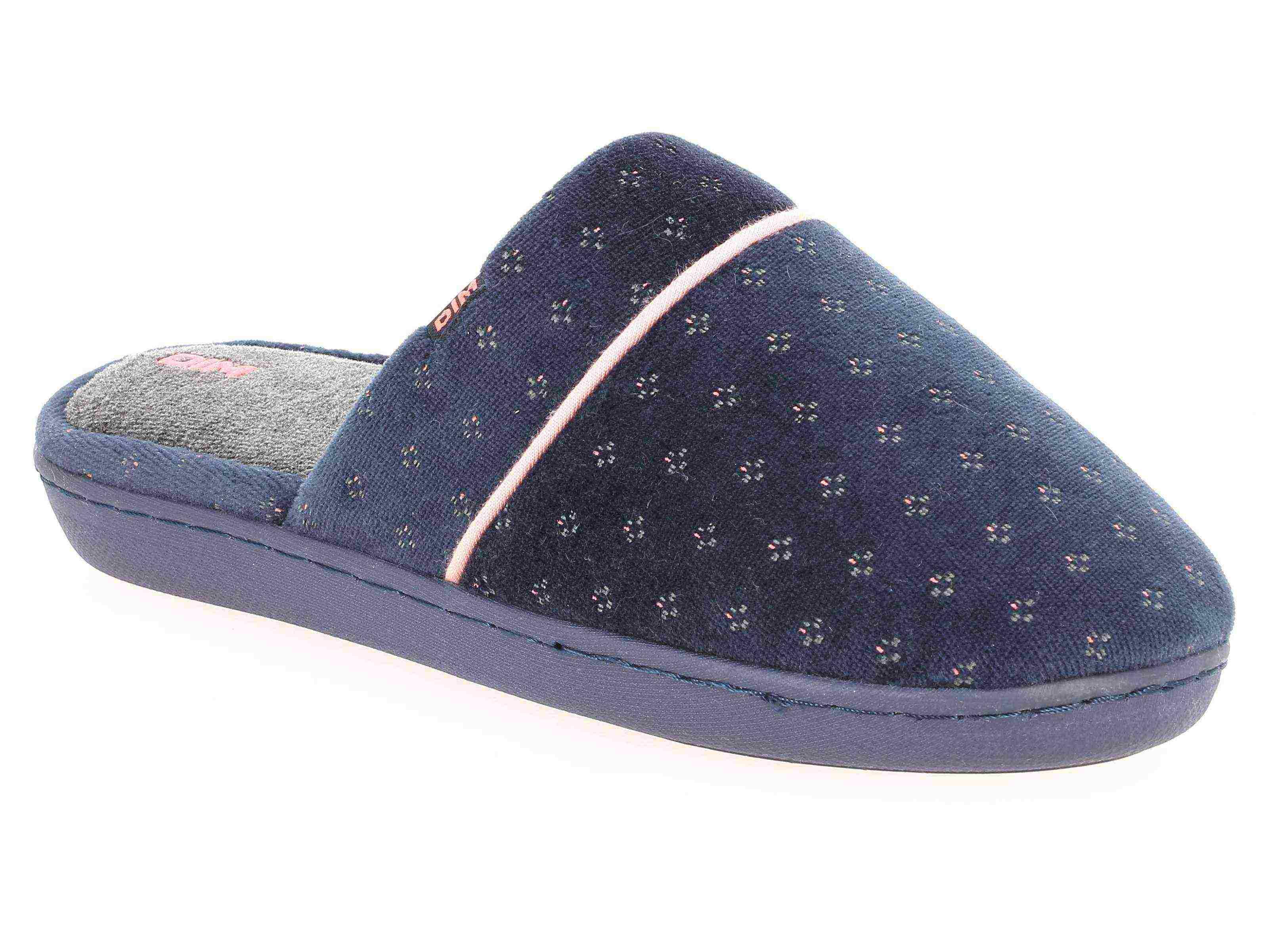 Chaussons type pantoufles bleu marine intérieur gris Femme