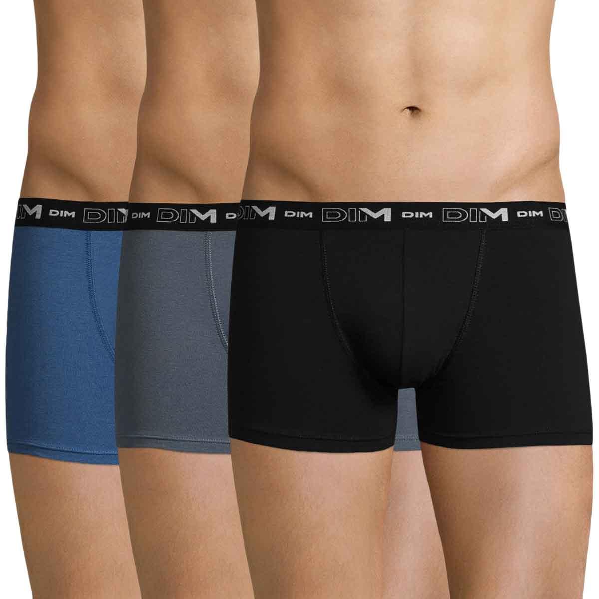Lot de 3 boxers bleu, gris et noir Coton Stretch