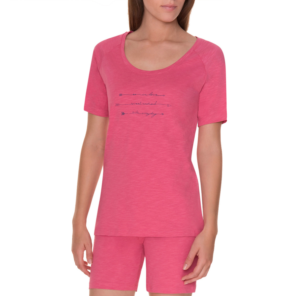 T-shirt manches courtes rose flamme pyjama Femme