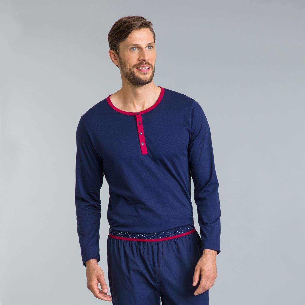 Tee-shirt de pyjama bleu matelot Signature manches longues