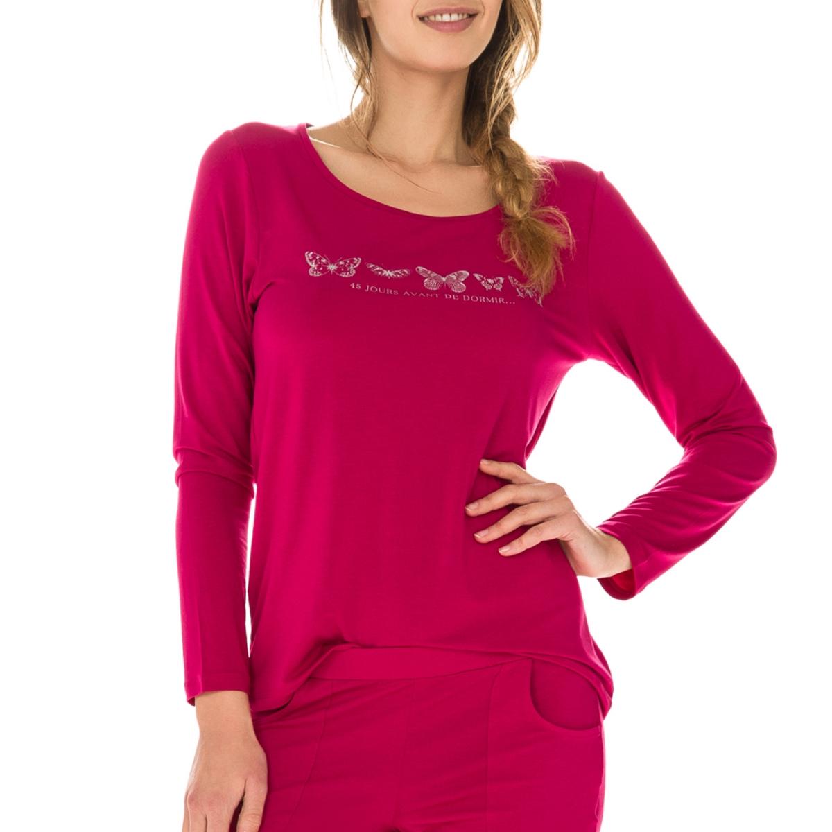 T-shirt de pyjama manches longues rouge en modal Femme