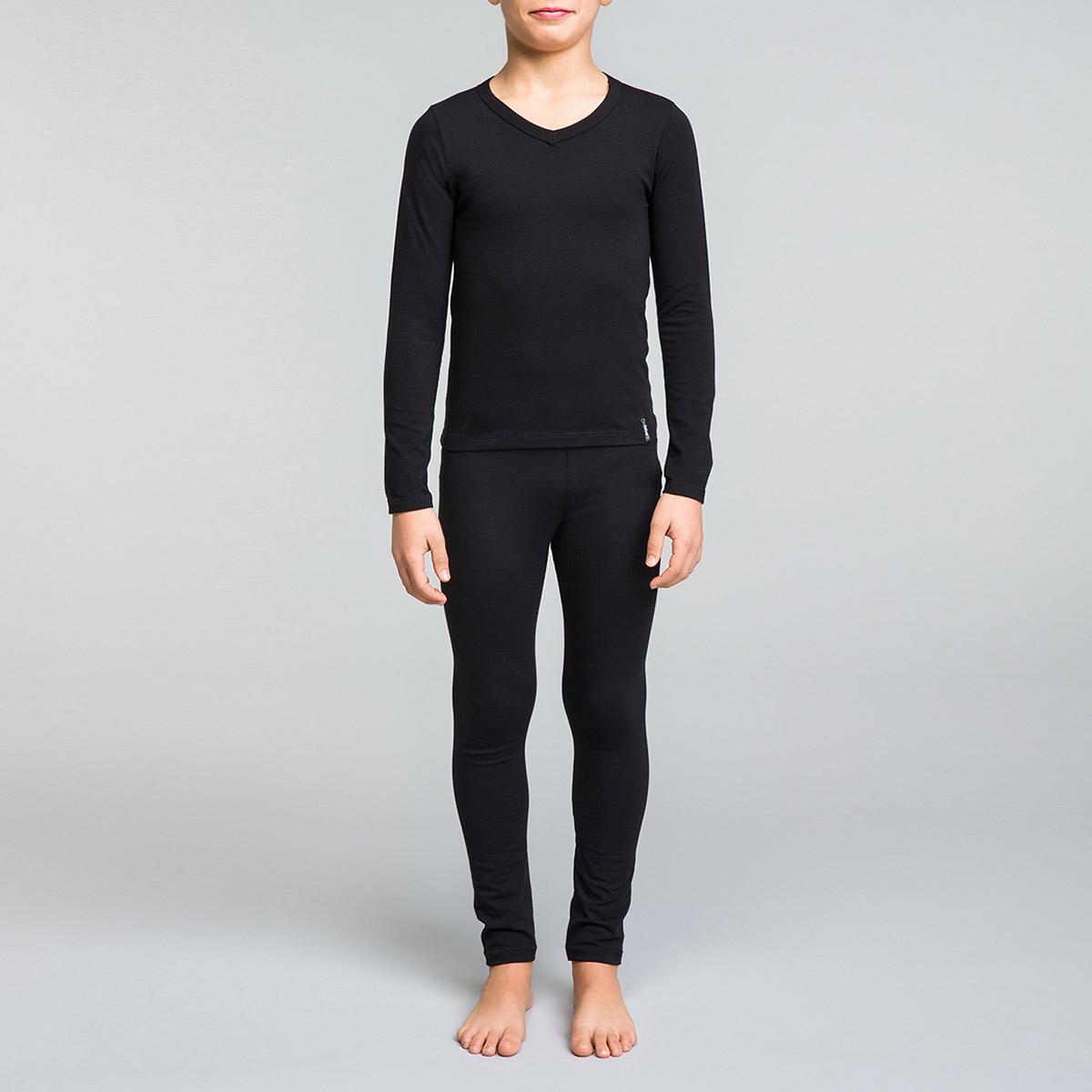 Tee-shirt manches longues noir col V DYNAMIC Boy