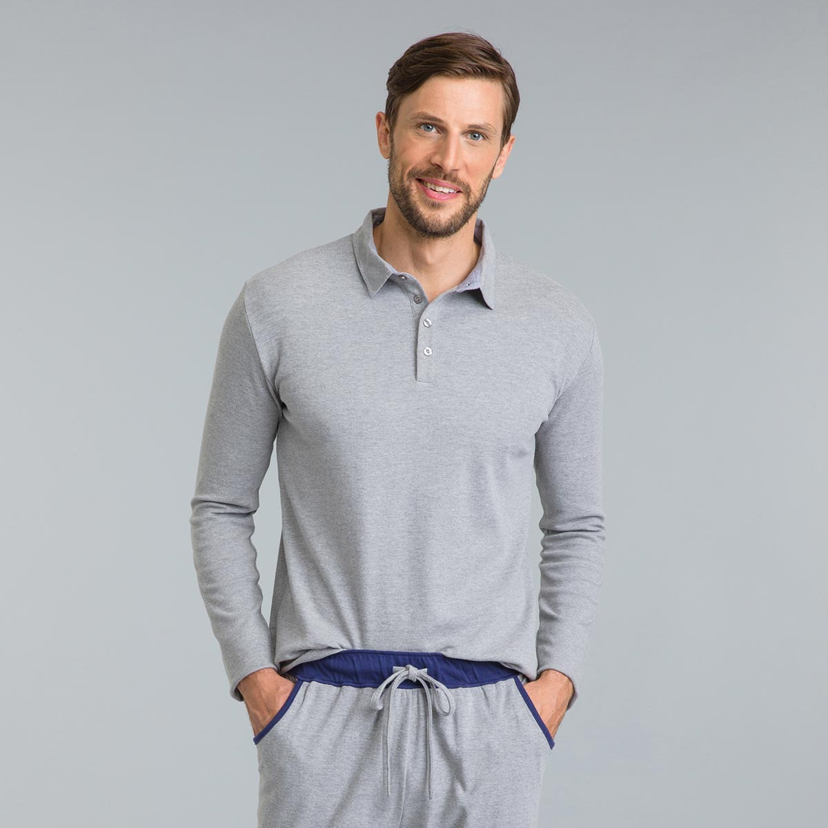 Tee-shirt de pyjama manches longues gris chiné Mix & Match