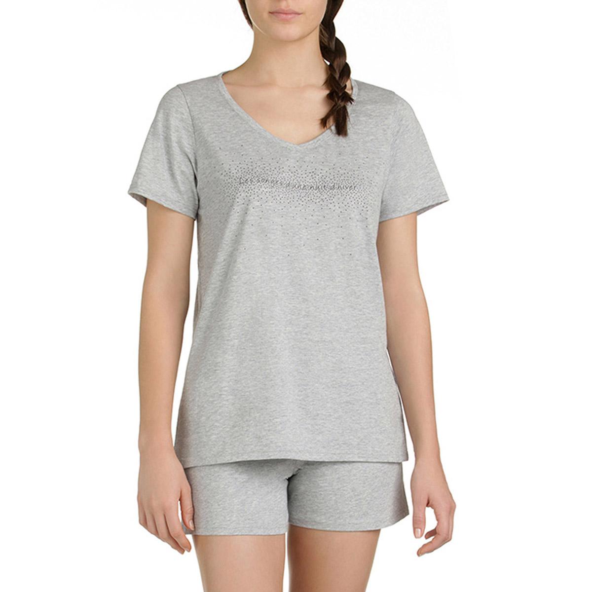 T-shirt de pyjama manches courtes gris chiné Femme