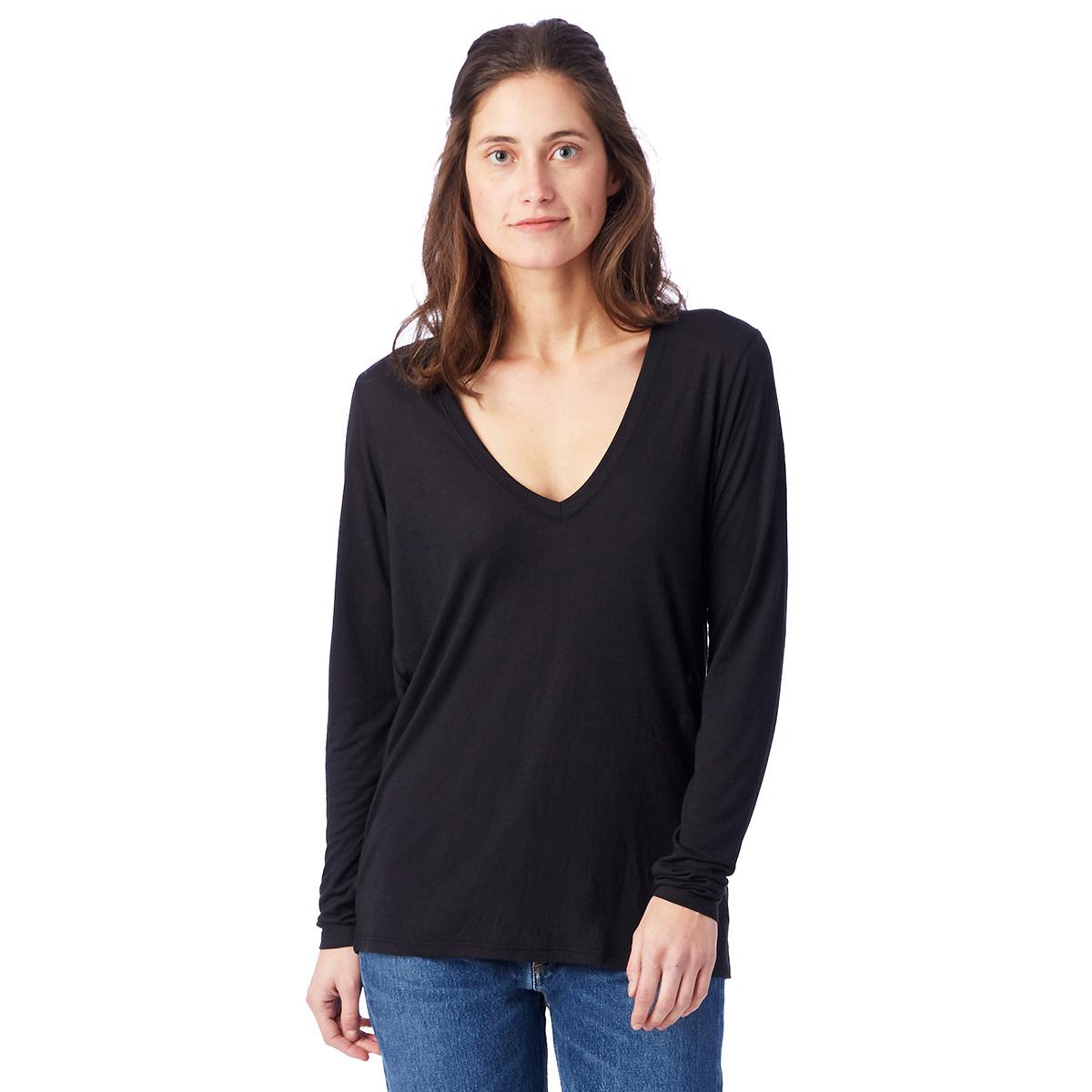 T-shirt fluide noir à manches longues Femme