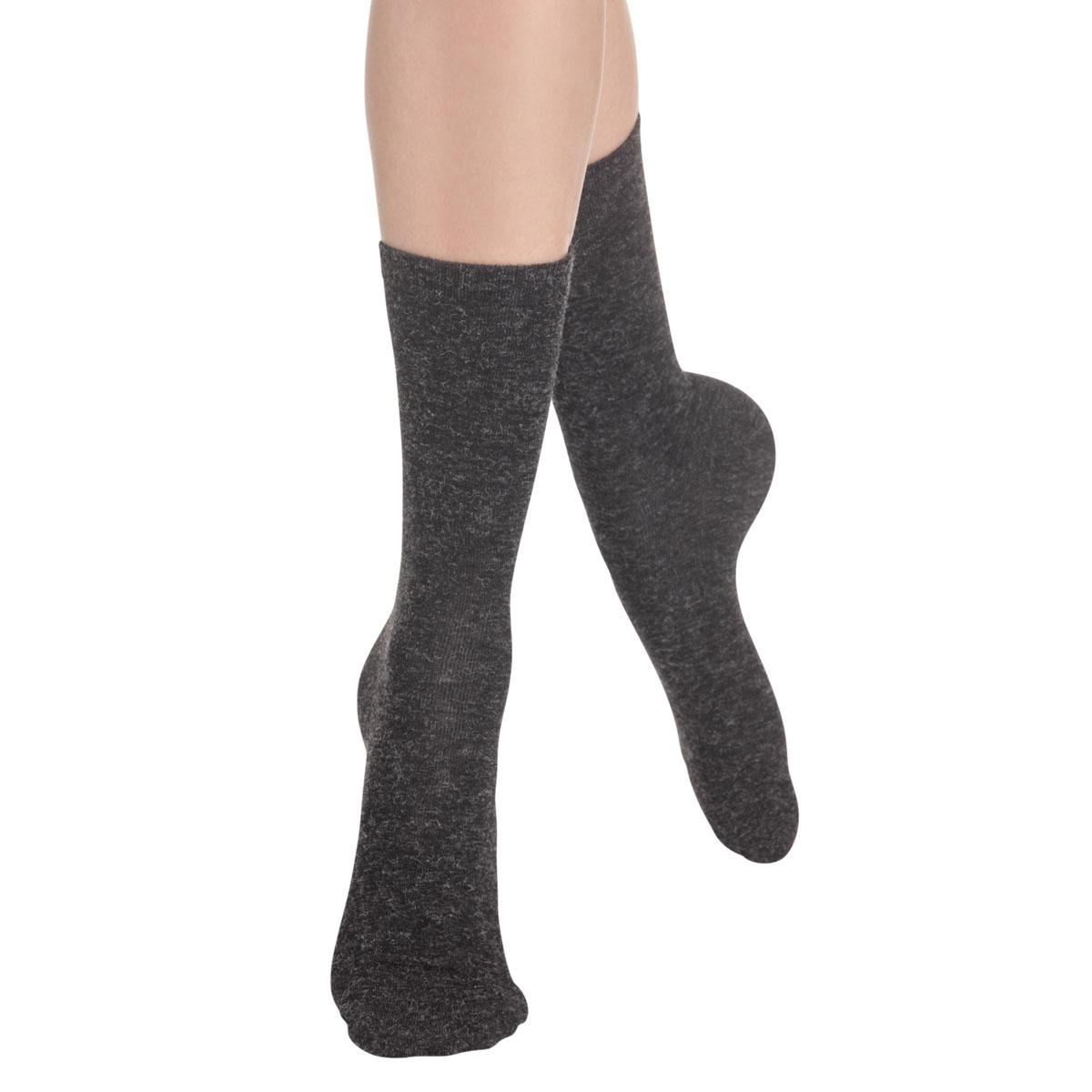Chaussettes unies anthracite en laine douce Femme