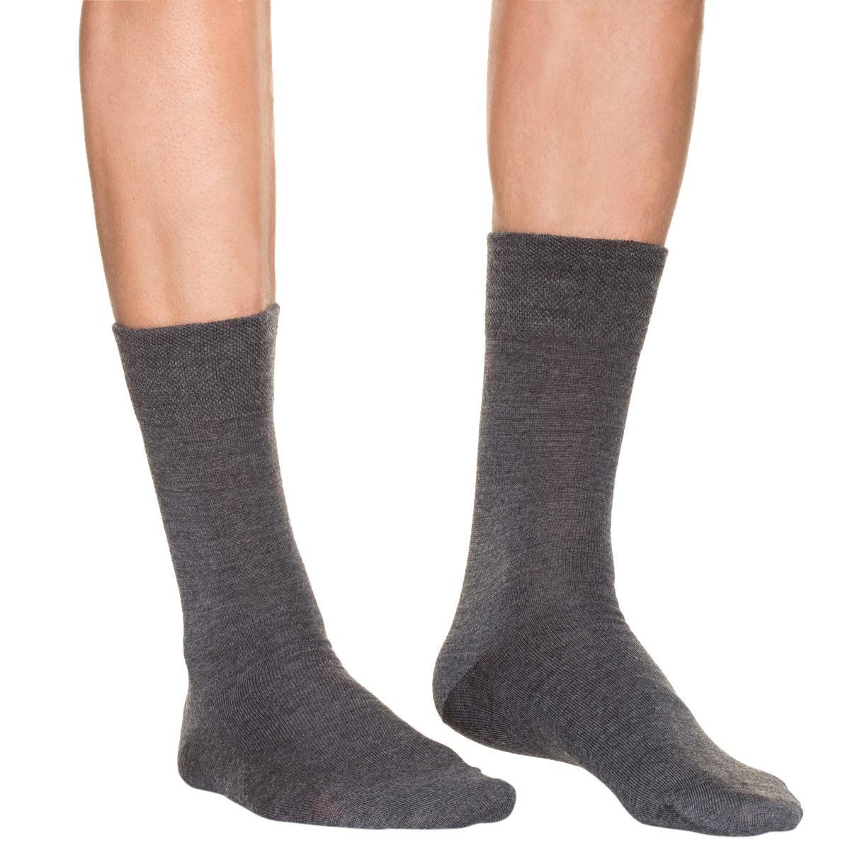 Mi-chaussettes anthracite en laine Homme