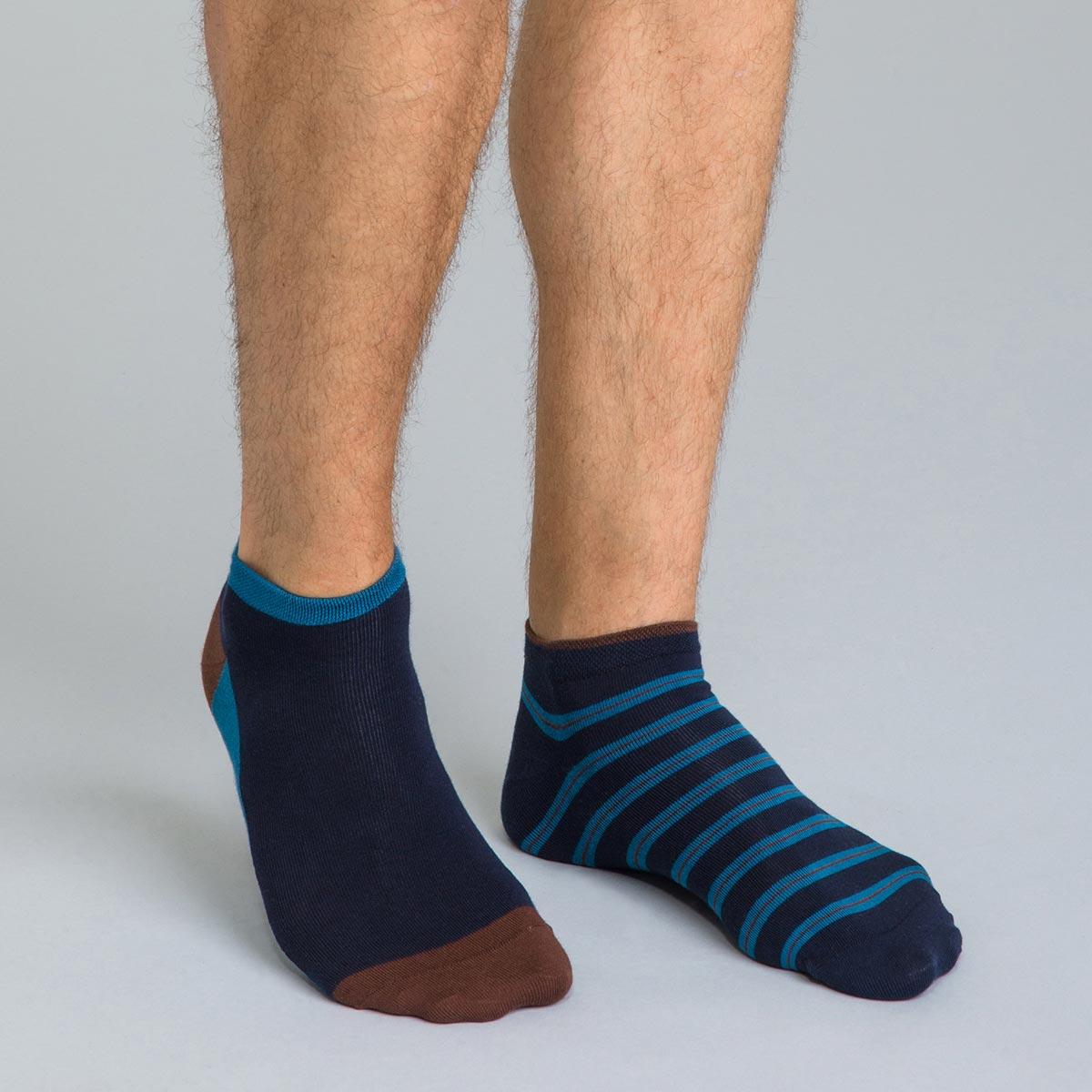 Lot de 2 socquettes bleues à rauyres en coton Homme