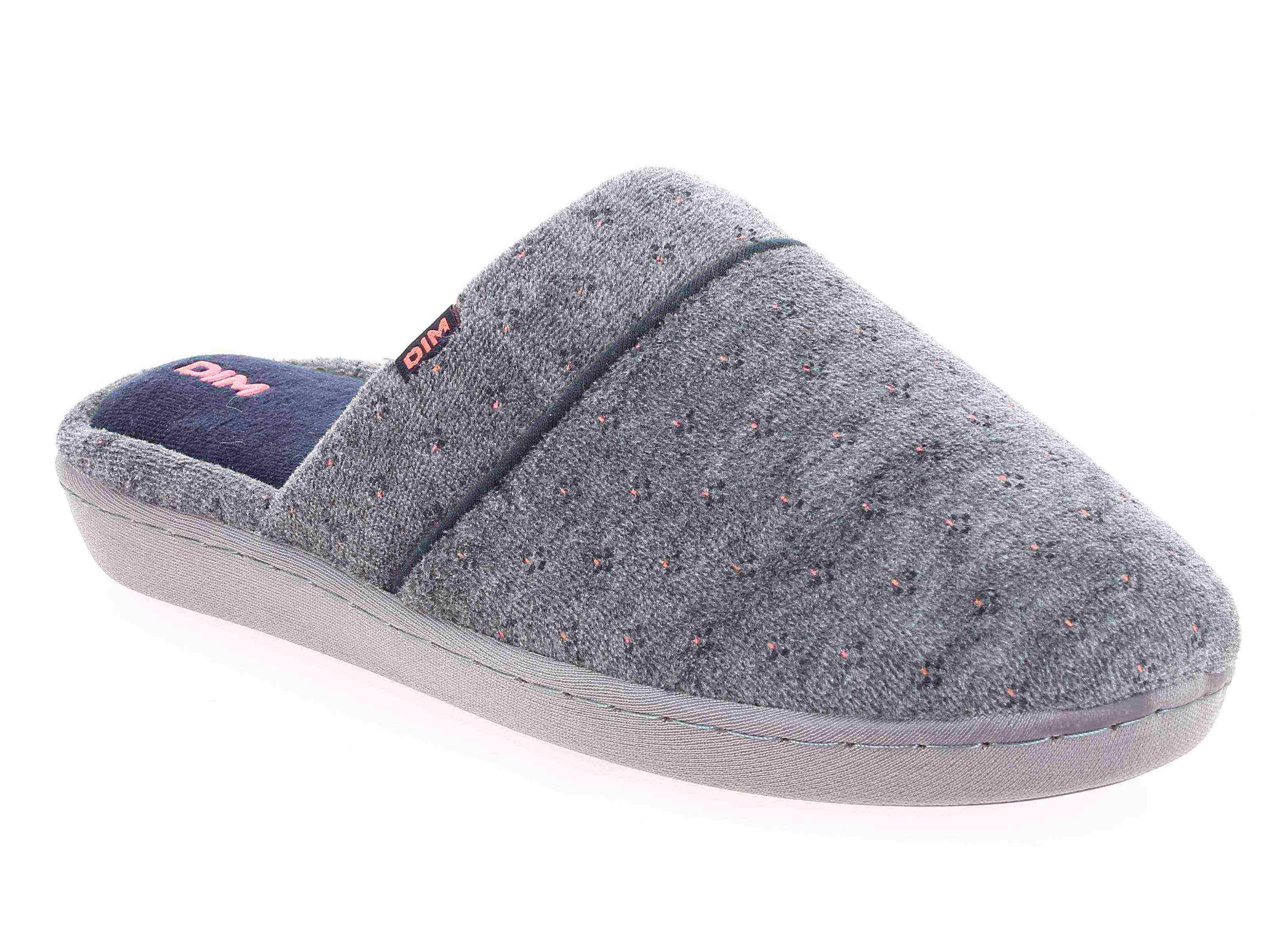 Chaussons type pantoufles gris intérieur bleu Femme
