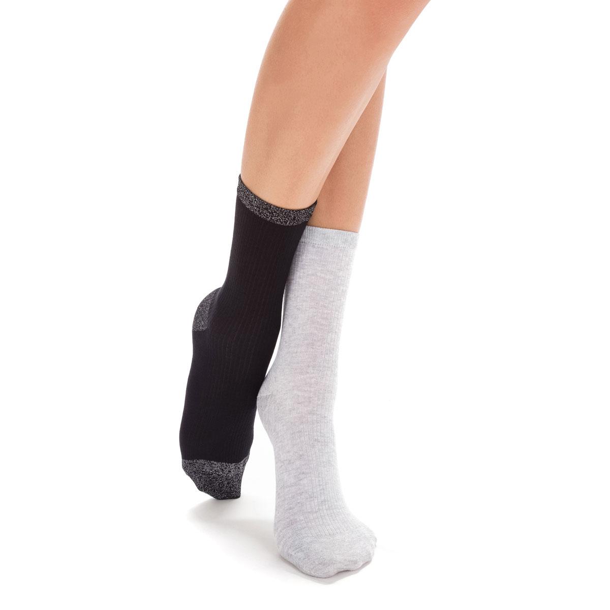 96b45e07a4b Lot de 2 chaussettes grises et noires côtelées Femme