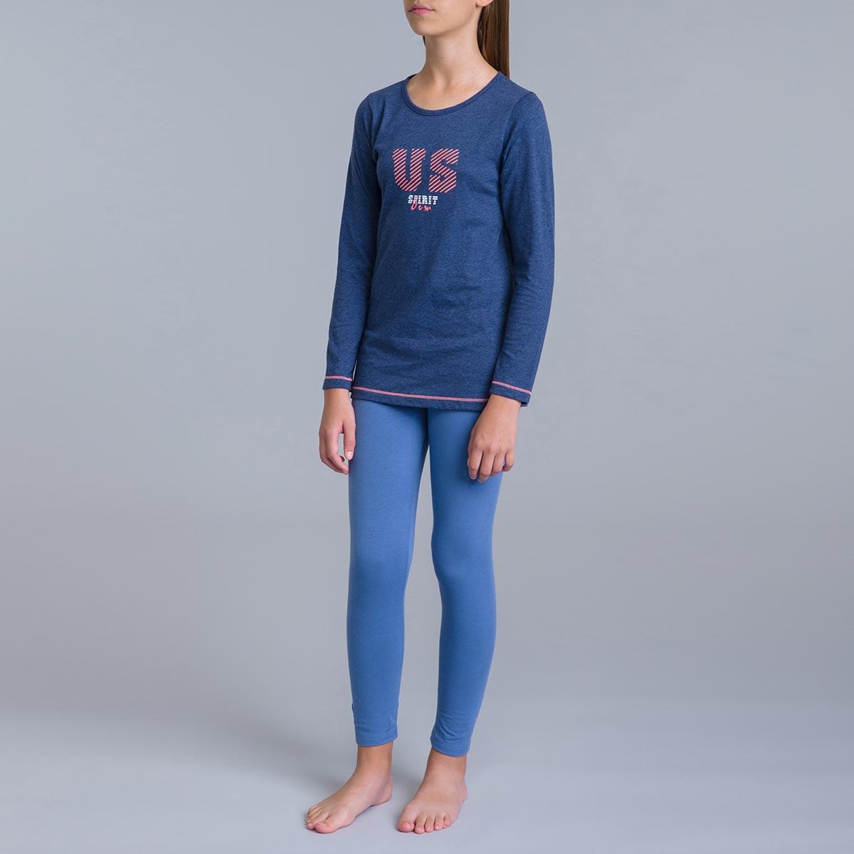 Pyjama 2 pièces pantalon bleu jean et t-shirt bleu DIM Girl