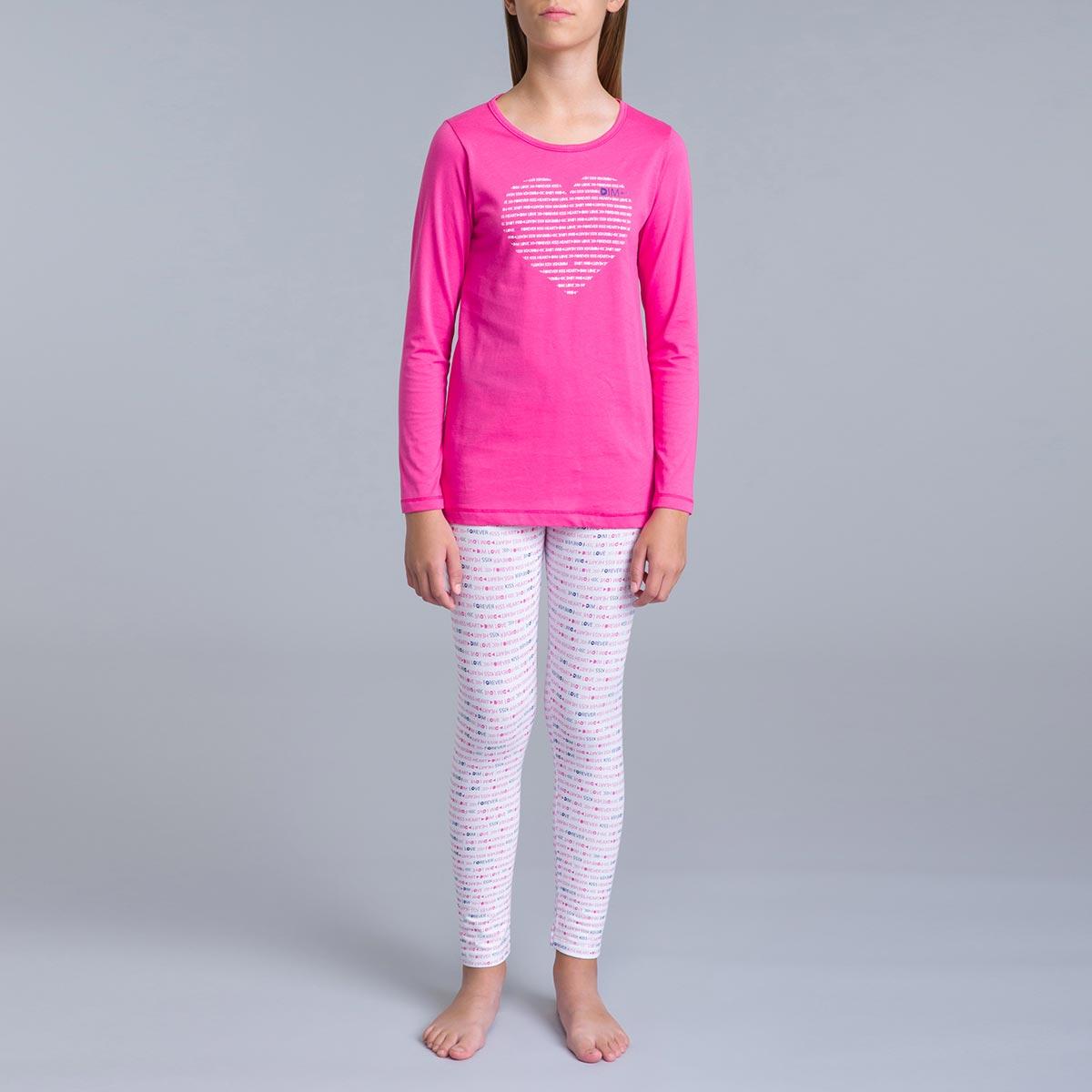 Pyjama 2 pièces pantalon blanc imprimé rose et t-shirt rose