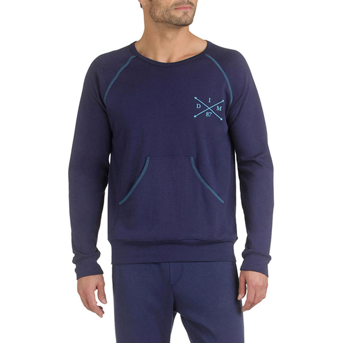 Sweatshirt de pyjama bleu marine 100% coton Homme