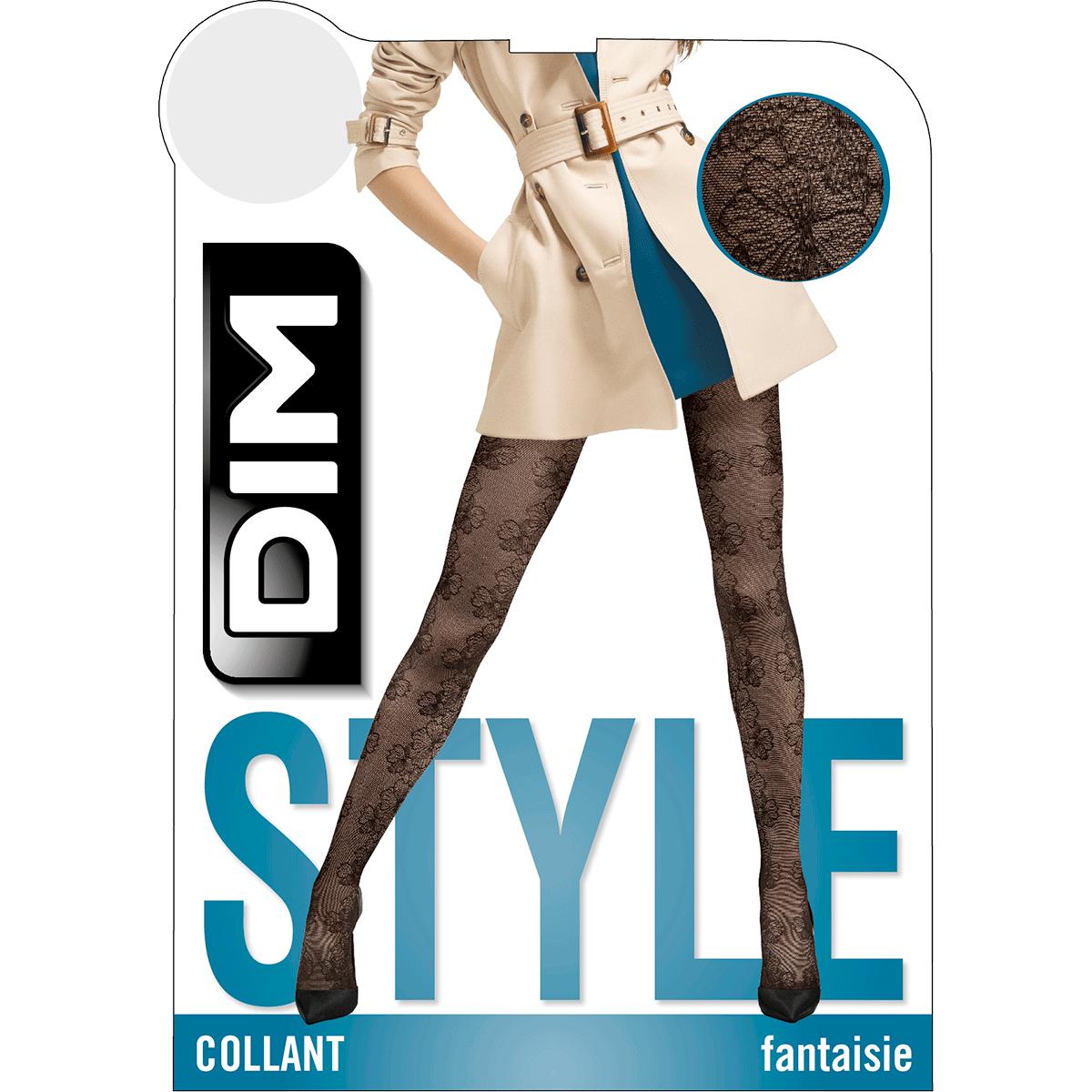 Collant noir motif élégance florale Style 33D 276d7839731