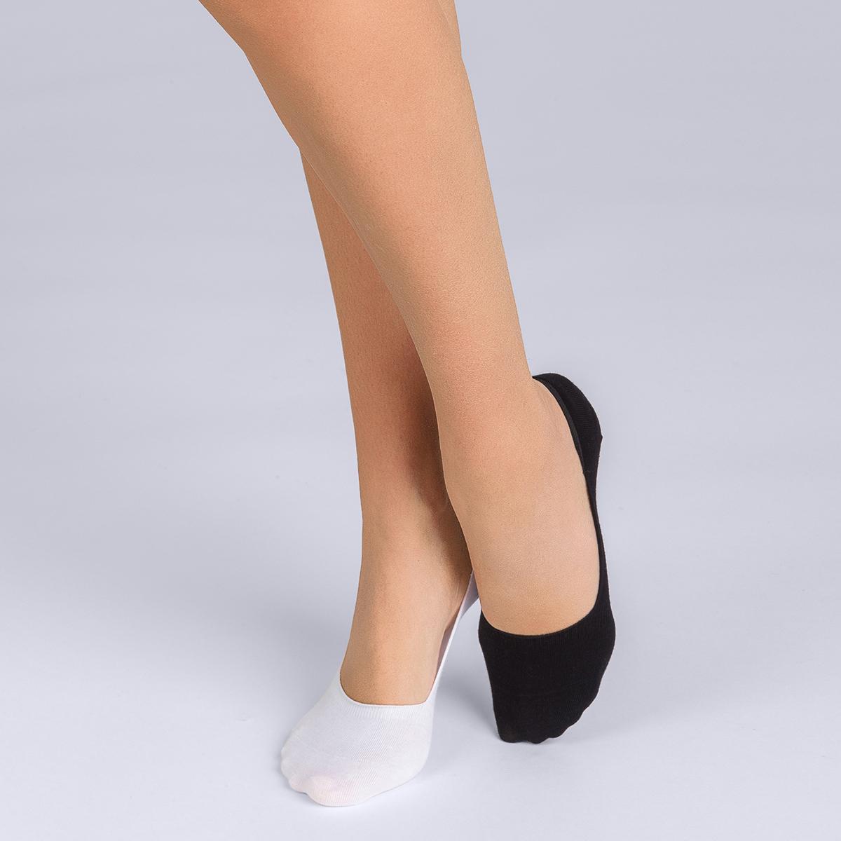 Lot de 2 protège-pieds coton noir et blanc Femme Basic Coton