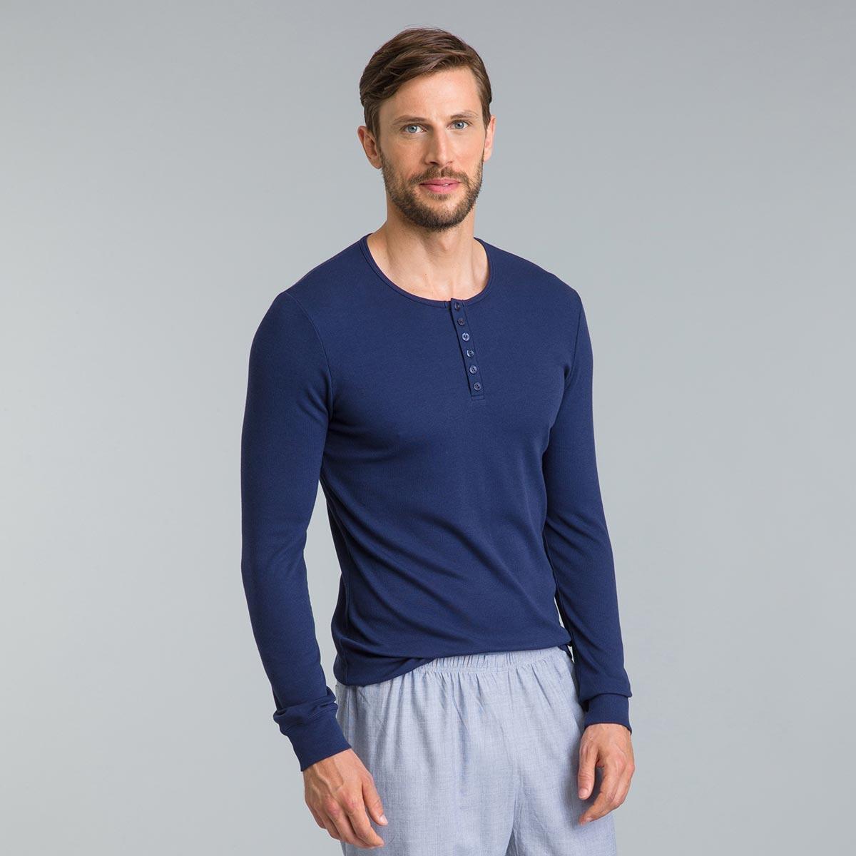 Tee-shirt de pyjama manches longues bleu marine