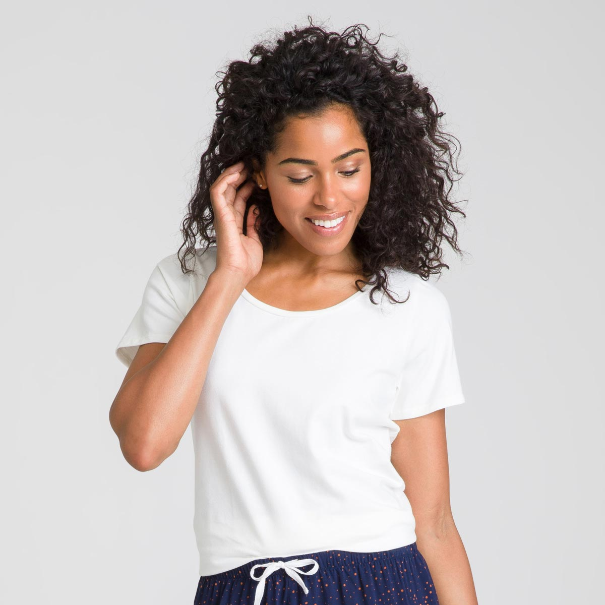 Tee-shirt manches courtes blanc nacre Soft & Cool