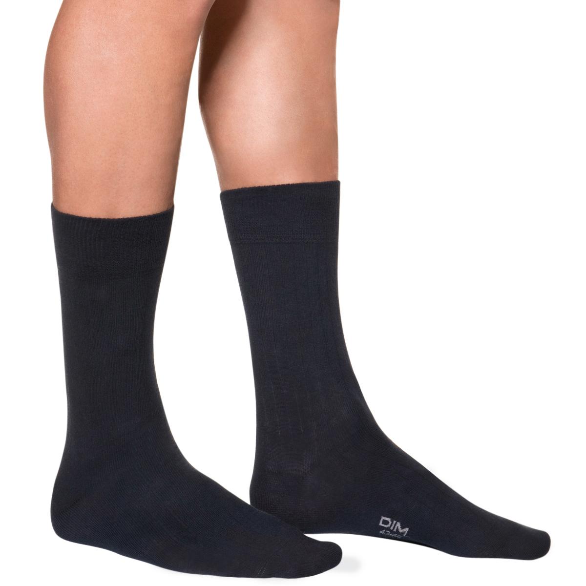 Mi-chaussettes bleu foncé à côtes Homme