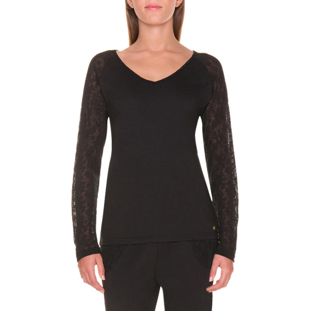 T-shirt de pyjama manches longues noir et dentelle Femme