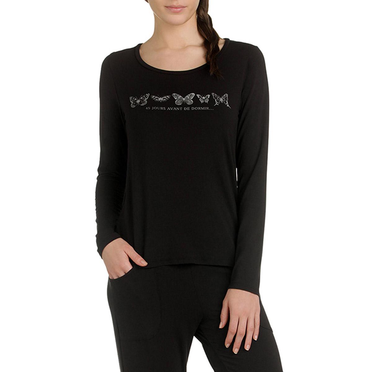 T-shirt de pyjama manches longues noir en modal Femme