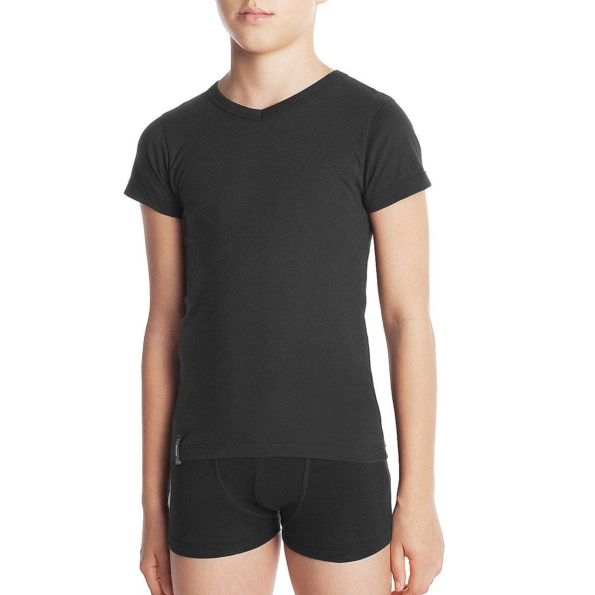 Tee-shirt manches courtes noir col V DYNAMIC Boy