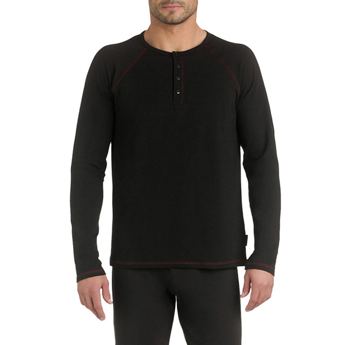 T-shirt de pyjama manches longues noir en coton Homme