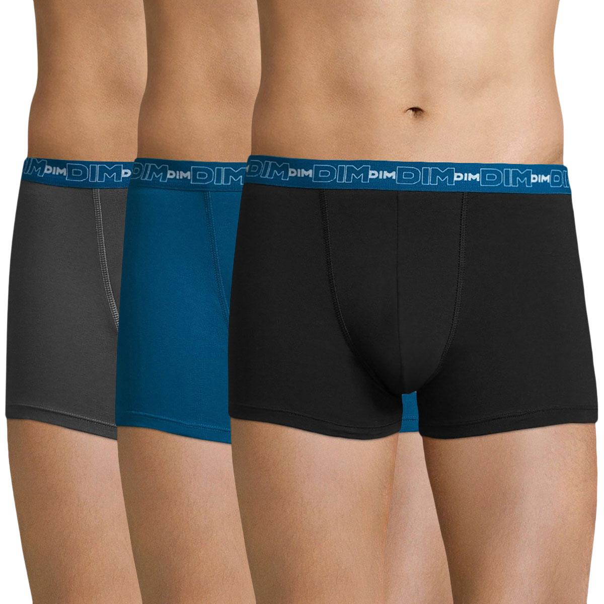 Lot de 3 boxers gris, bleu et noir Coton Stretch