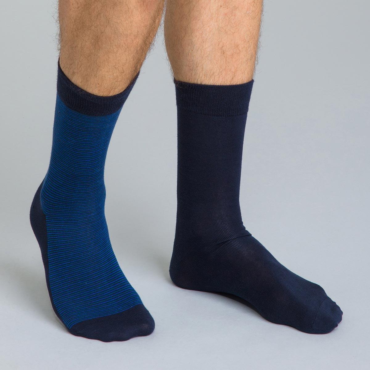 Lot de 2 chaussettes bleu marine à rayures Coton Style Homme