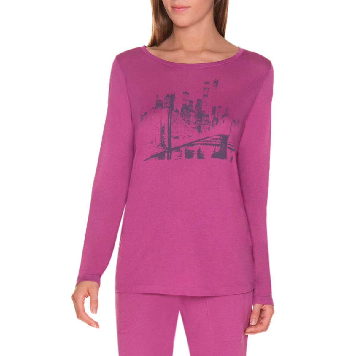T-shirt de pyjama manches longues violet cassis Femme