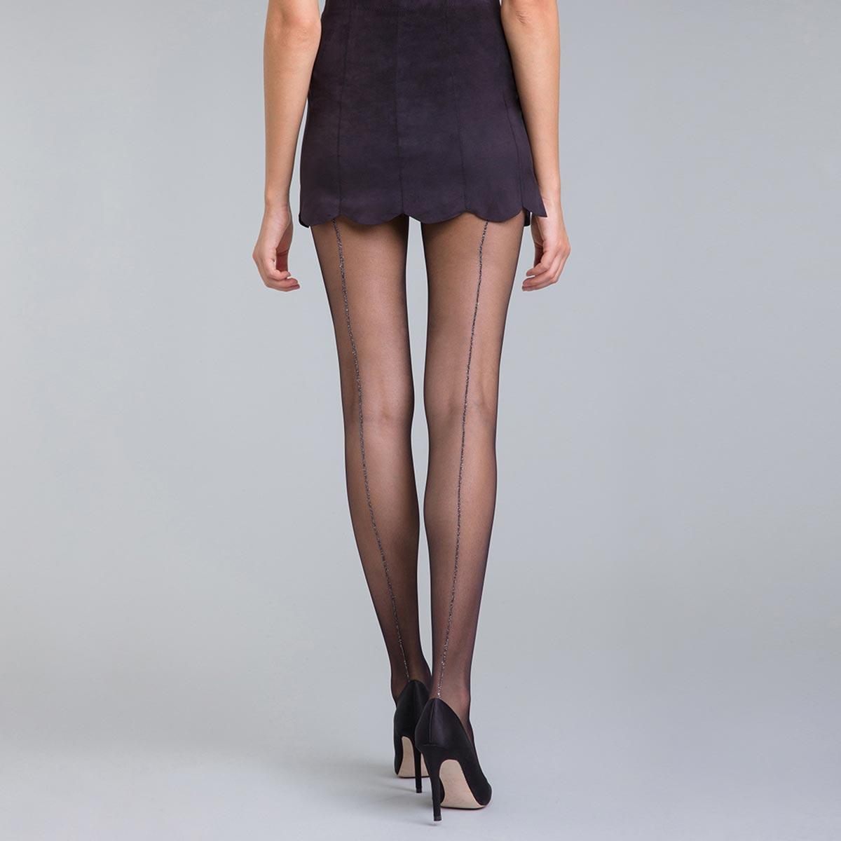 Collant couture lurex noir et argent DIM X ba&sh